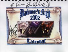 Blackmore's Night Calendar signed by BN